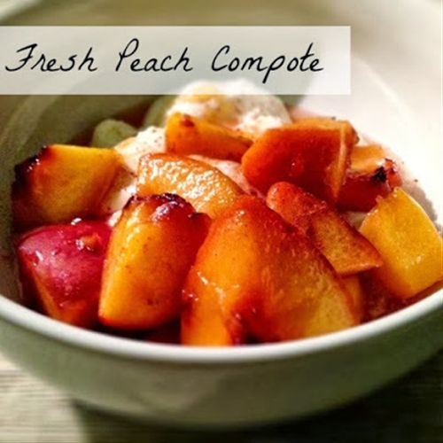 Peach compote with honey-drizzled yogurt