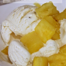 Roasted Pineapple with Ice Cream