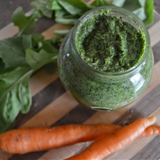 Arugula and Carrot Top Pesto