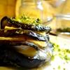 Eggplant millefeuilles w/ goat's cheese, cinnamon, pistachios & honey