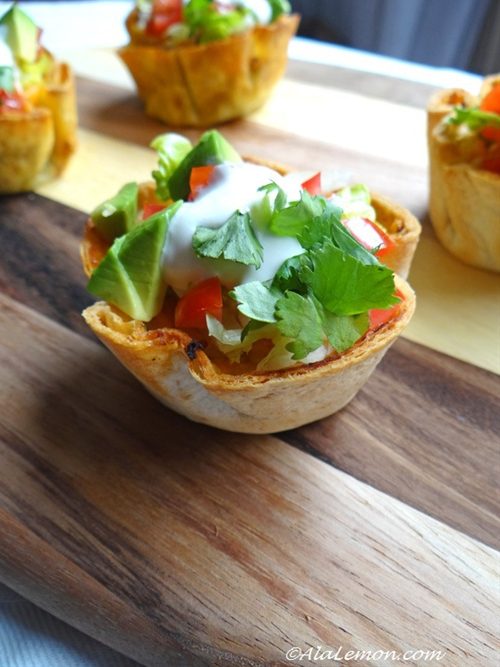 Tacos in mini cups