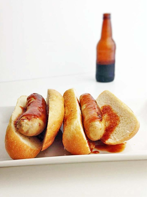 Chicken Brats with Root Beer BBQ Sauce