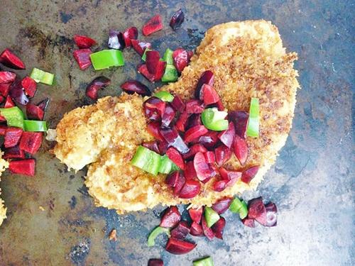 Pork Tonkatsu with Cherry Jalapeno Relish