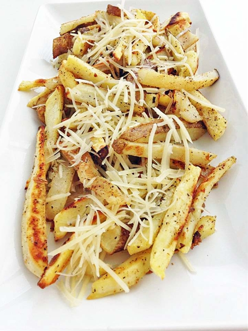 Sweet and Russet Potato Garlic Fries