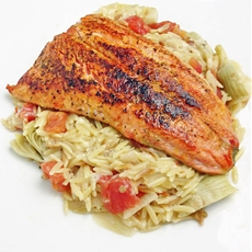 Salmon Over Orzo Risotto
