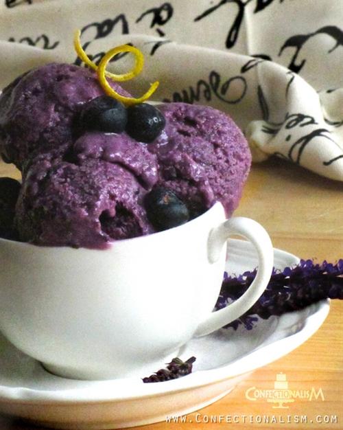 Honey Blueberry Basil Ice Cream