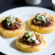 Polenta with Tomato Sauce, Balsamic Onions and Feta