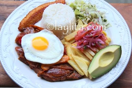 Ecuadorian churrasco steak and egg