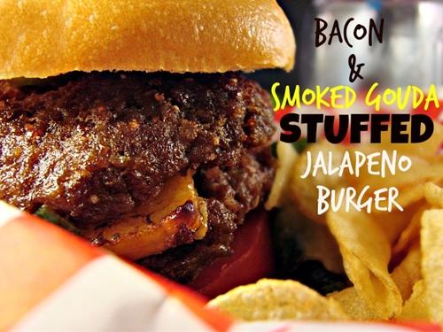 Bacon & Smoked Gouda Stuffed Jalapeno Burger
