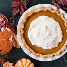Pumpkin Pie with Salted Caramel Whipped Cream (video)