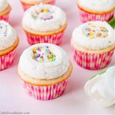 Moist Vanilla Cupcakes with Vanilla Bean Frosting