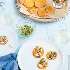 Chickpea Blini with Hummus and Mushrooms {vegan + gluten free}