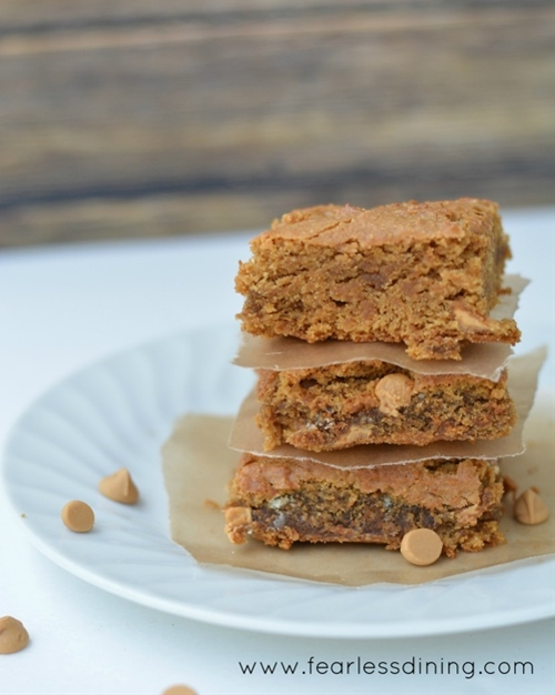 Gluten Free Blond Brownie with Peanut Butter Chips