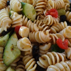 Colorful Pasta Salad Made With Vegetables and Salad Supreme