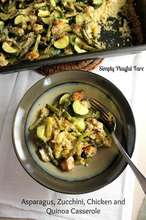 Chicken, Asparagus, Zucchini, Quinoa Casserole