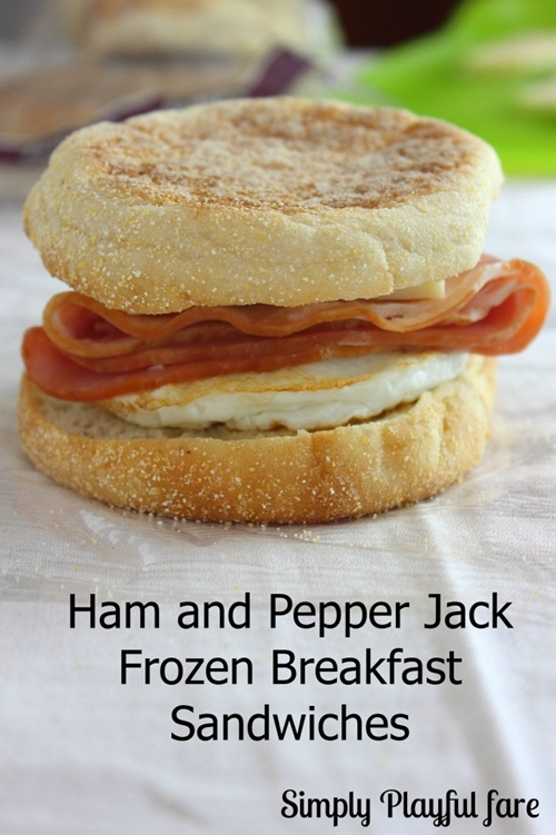 Ham and Pepper Jack Frozen Breakfast Sandwiches