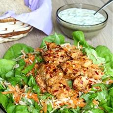 Carrots salad with spicy chicken, celery root & yogurt sauce