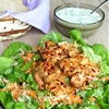 Carrots salad with spicy chicken, celery root & yogurt sauce