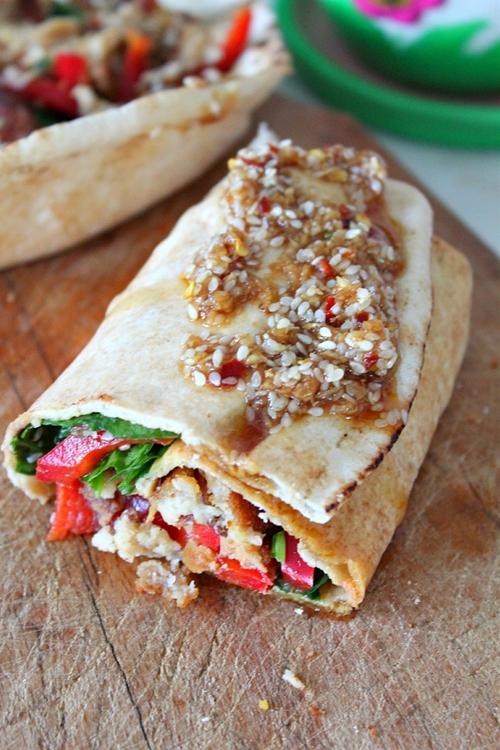 Spicy veggie wrap