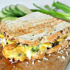 Omelette sandwich with sun dried tomato