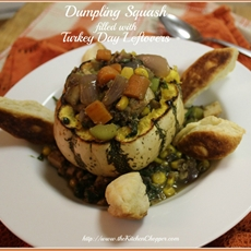 Dumpling Squash filled w Turkey Day leftovers