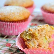 Coconut Macadamia Rhubarb Muffins