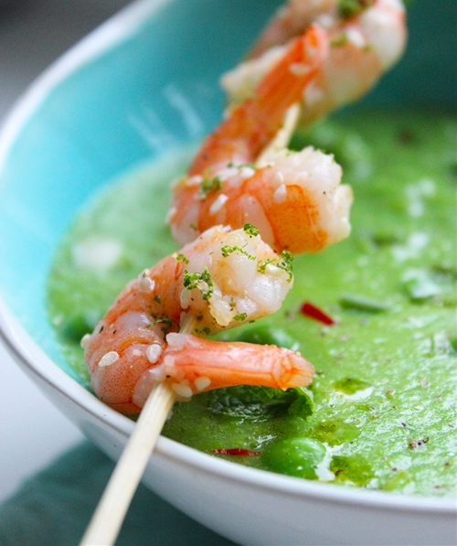 Pea & Mint Soup with Thai grilled Shrimp skewers