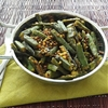 Fried okra with black lentils and spices