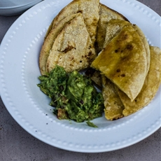 Corn Tortilla Bites Served With Homemade Guacamole