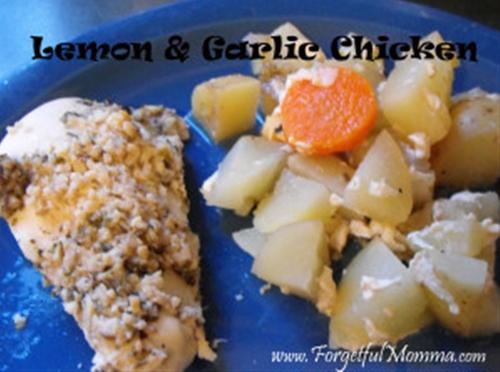 Slow Cooker Lemon Garlic Chicken and Veggies