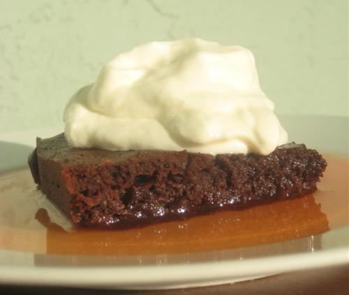 Banana Brownies, Watermelon Syrup, Yogurt Whipped Cream