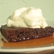 Banana Brownies, Watermelon Syrup, Yogurt Whipped Cream