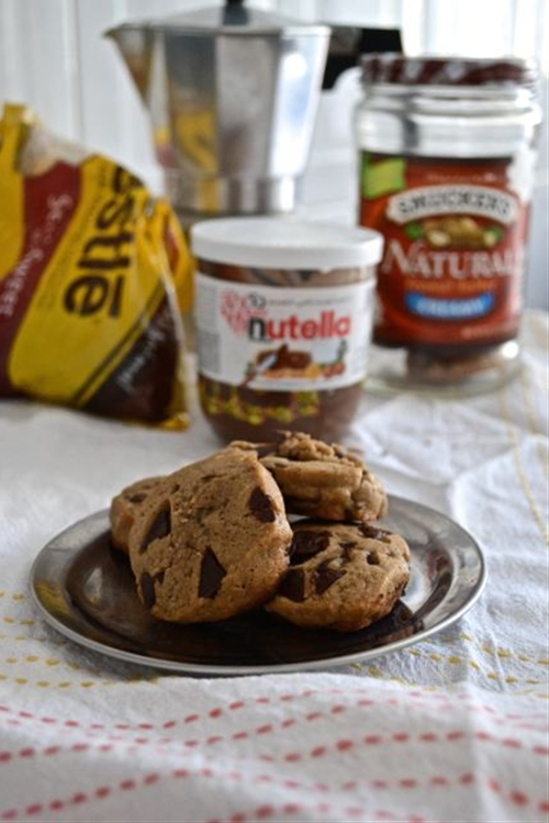 Peanut Butter Nutella Chocolate Chip Cookies