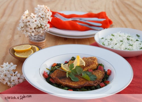 Fish with sautéed spinachFish with spinach