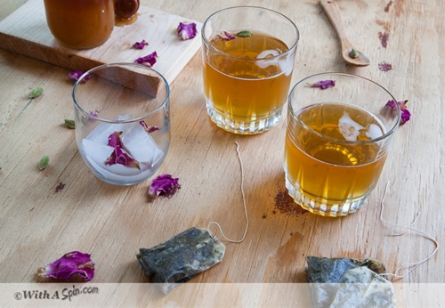 Cardamom and Rose Water Infused Green Tea with Saffron