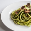 Bucatini with Spinach Pesto and Mushrooms