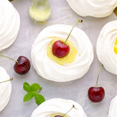 Meringue Nests With Lime Curd And Cherries