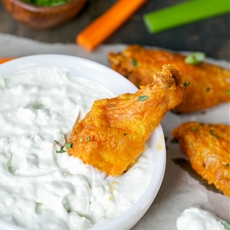 Crispy Oven Baked Buffalo Wings With Blue Cheese Dip