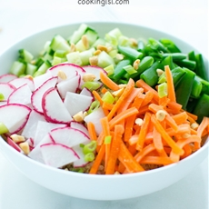 Quinoa Salad With Snap Peas Radishes and Carrots