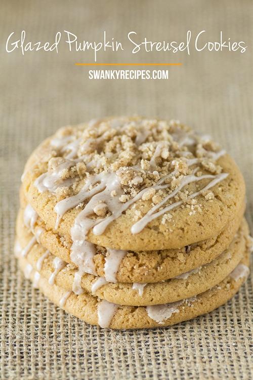 Glazed Pumpkin Streusel Sugar Cookies