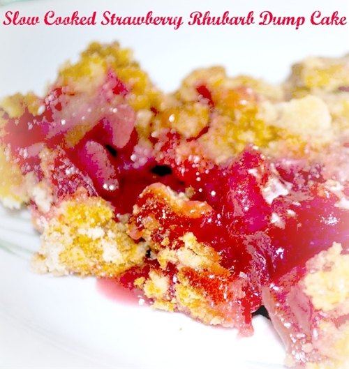 Slow Cooker Strawberry Rhubarb Dump Cake