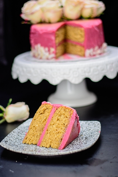 Earl Grey Cake with Hibiscus Frosting