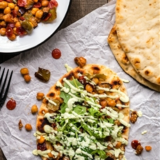Roasted Pepperoni Veggies Naan with Avocado Tzatziki