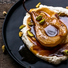 Grapefruit Roasted Pears with Ricotta and Pistachios