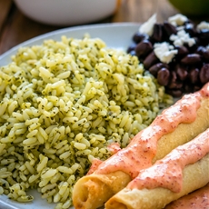 Green Rice and Taquitos with Piquillo Pepper Crema