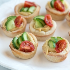 Hummus Cups With Cucumber and Tomato