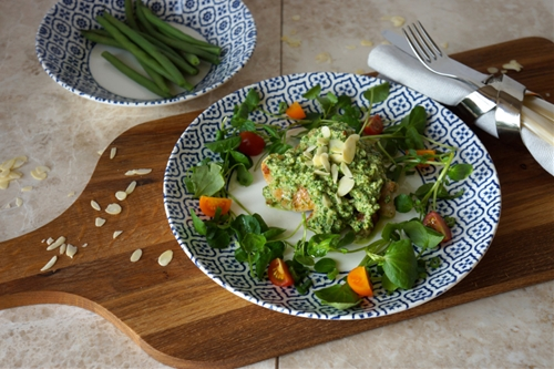 Watercress and almond chicken
