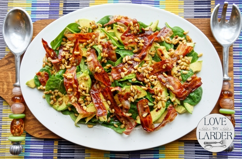 Avocado spinach and pancetta salad