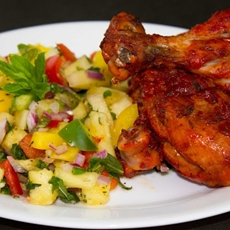 BBQ Chicken (Tandoori Chicken) with Pineapple salad