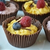 Chocolate Cups Filled With Eggless Mango